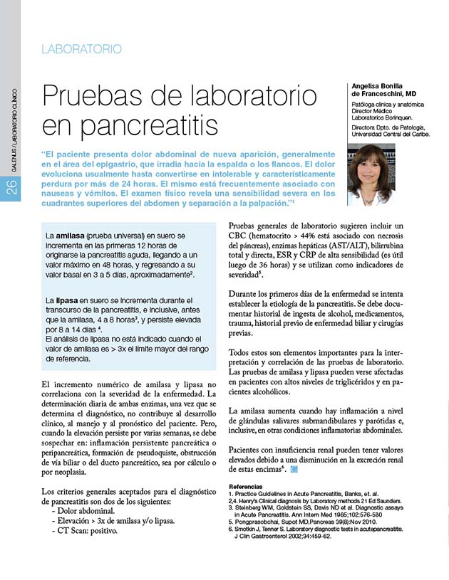 Pruebas de laboratorio en Pancreatitis