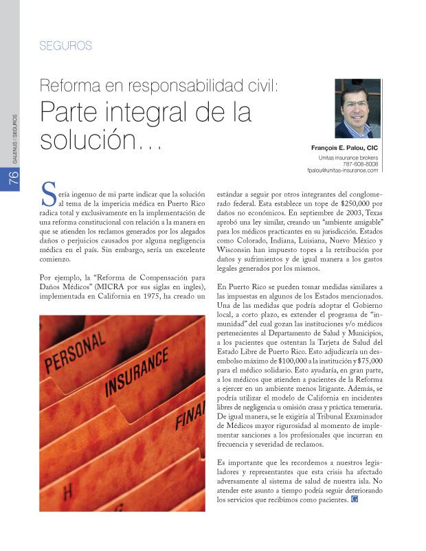 Seguros: Reforma en responsabilidad civil: Parte integral de la solución...