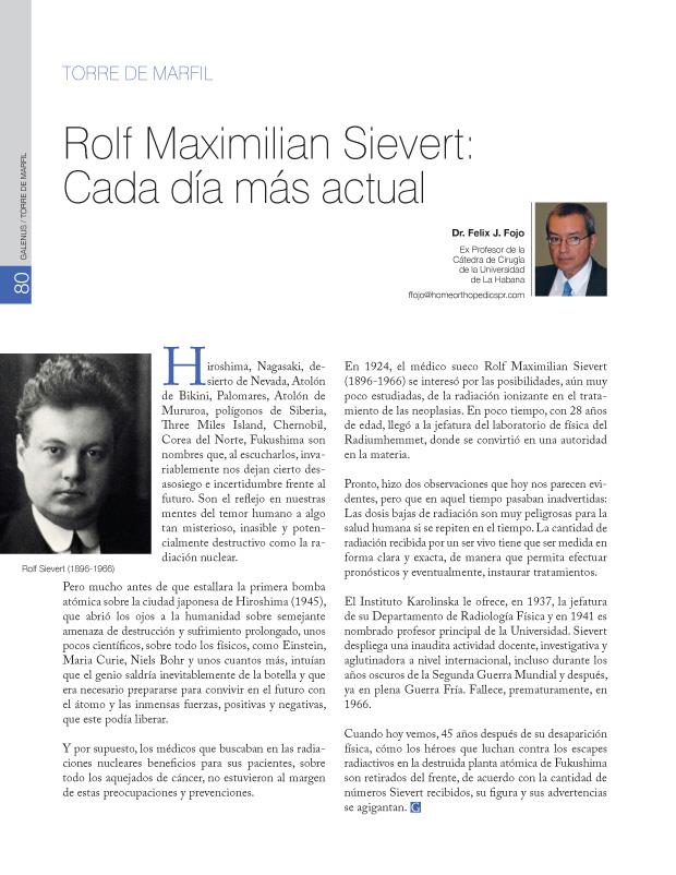Torre de Marfíl: Rolf Maximilian Sievert: Cada día más actual
