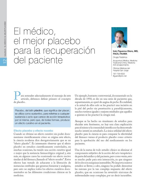 El médico, el mejor placebo para la recuperación del paciente