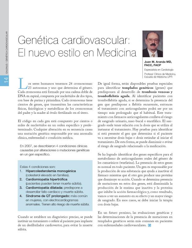 Genética cardiovascular / El nuevo estilo en Medicina