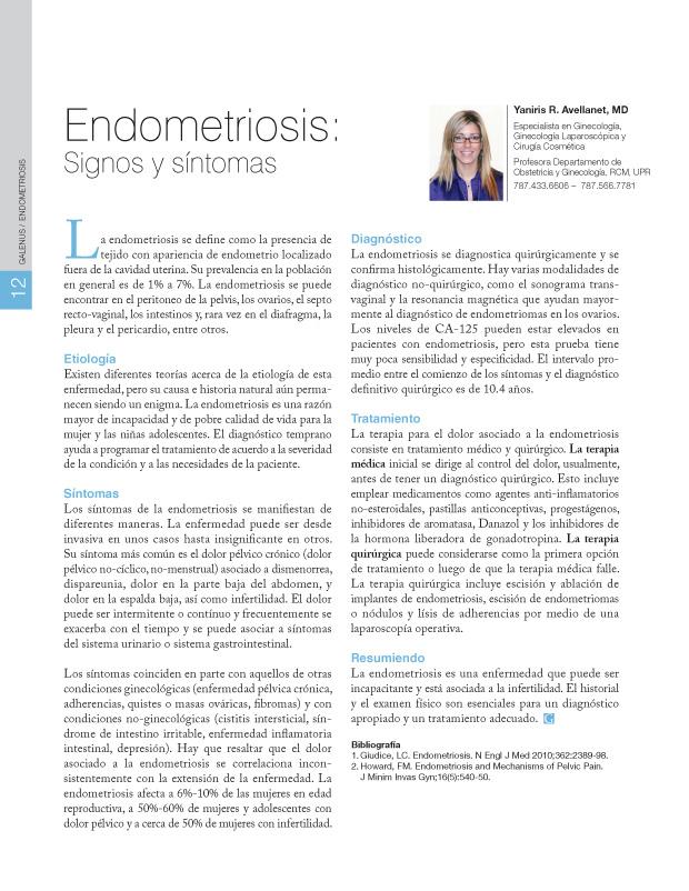 Endometriosis: Signos y síntomas