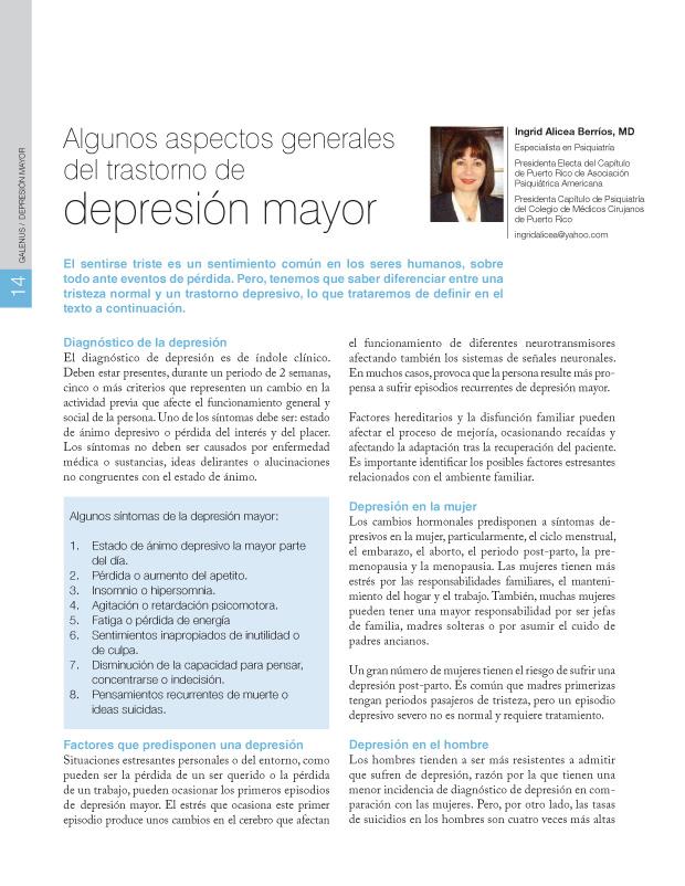 Algunos aspectos generales del trastorno de depresión mayor
