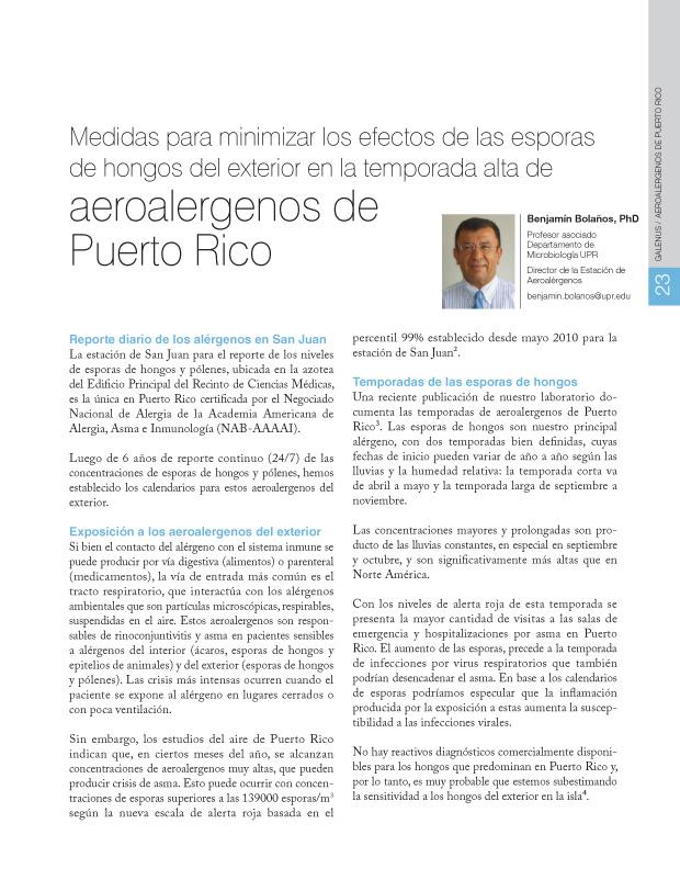 Medidas para minimizar los efectos de las esporas de hongos del exterior en la temporada alta de aeroalergenos de Puerto Rico