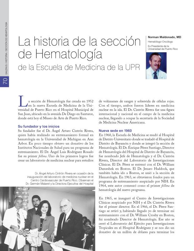 La historia de la sección de Hematología de la Escuela de Medicina de la UPR