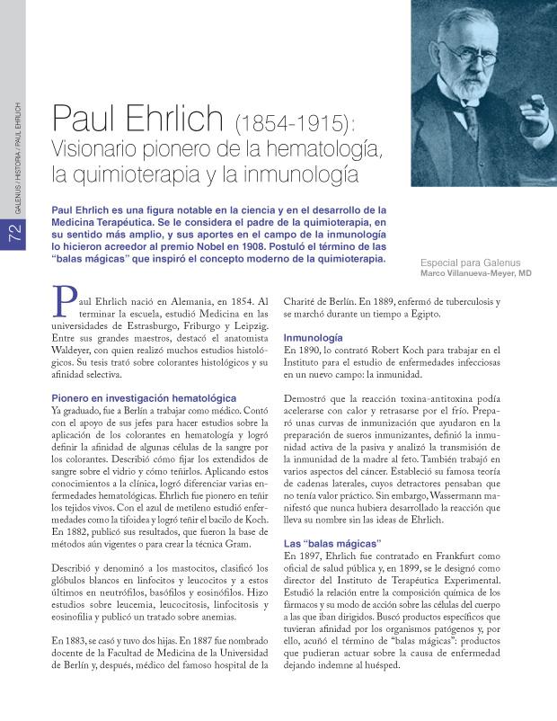 Paul Ehrlich (1854-1915): Visionario pionero de la hematología, la quimioterapia y la inmunología