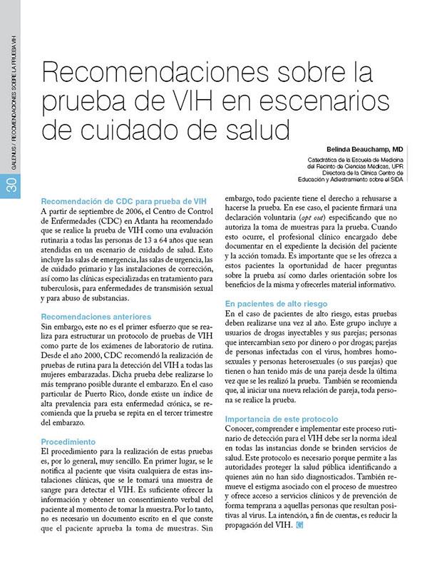 Recomendaciones sobre la  prueba de VIH en escenarios  de cuidado de salud