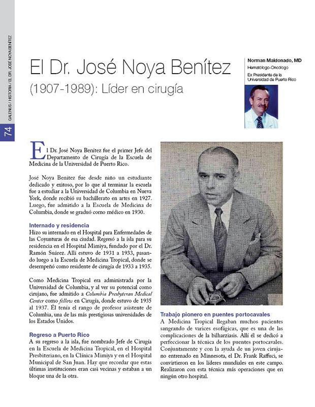 El Dr. José Noya Benítez (1907-1989): Líder en cirugía