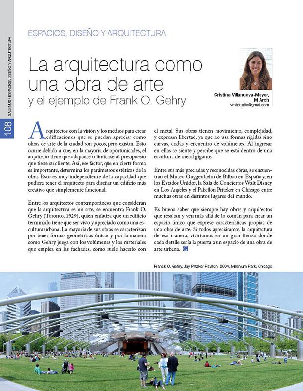 La arquitectura como una obra de arte y el ejemplo de Frank O. Gehry