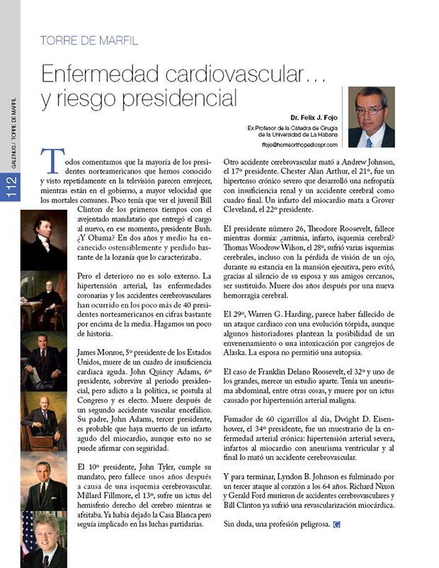 Enfermedad cardiovascular… y riesgo presidencial