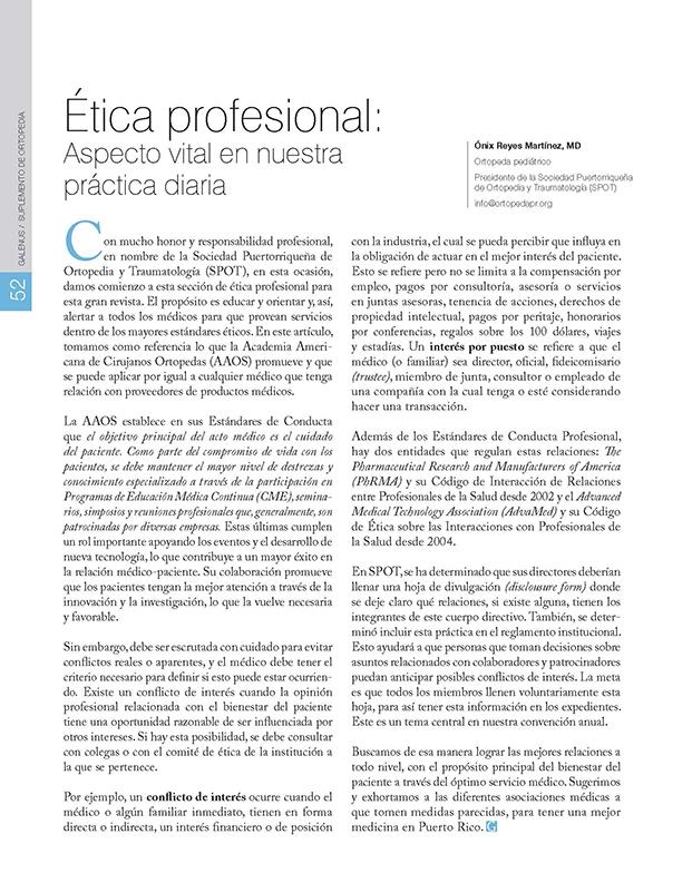 Ética profesional:  Aspecto vital en nuestra práctica diaria