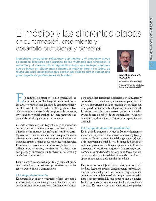 El médico y las diferentes etapas en su formación, crecimiento y desarrollo profesional y personal