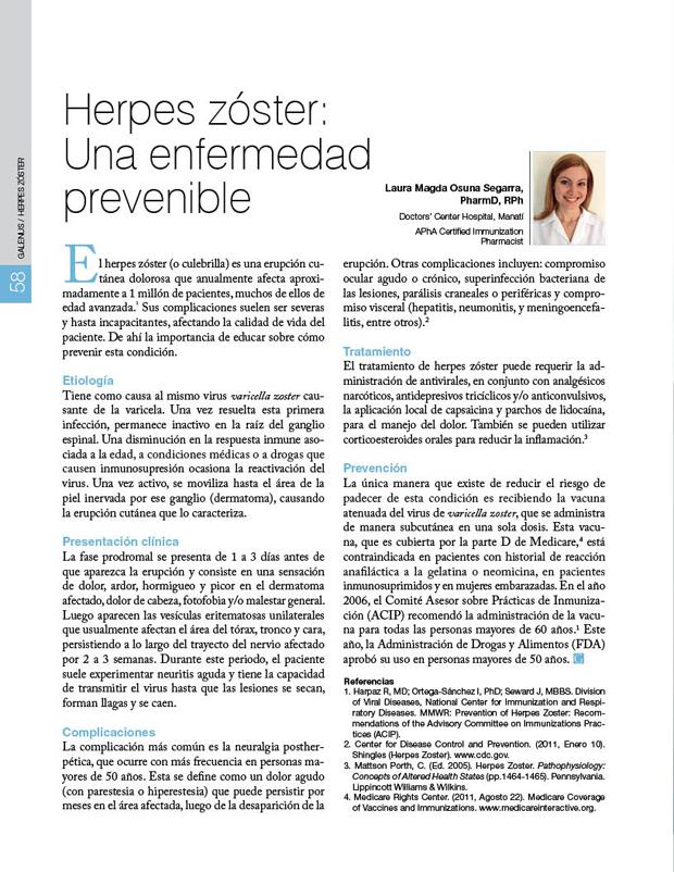 Herpes zóster: Una enfermedad prevenible