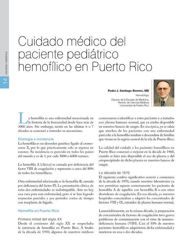 Cuidado médico del paciente pediátrico hemofílico en Puerto Rico