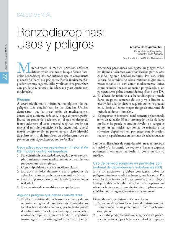 Salud Mental / Benzodiazepinas: Usos y peligros