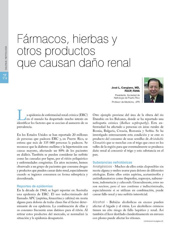 Fármacos, hierbas y otros productos que causan daño renal