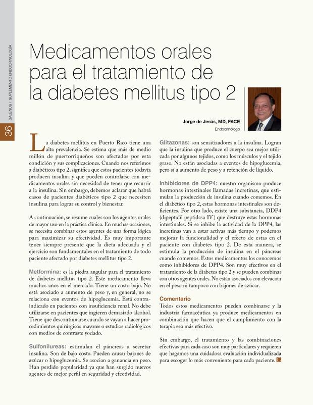Medicamentos orales para el tratamiento de la diabetes mellitus tipo 2