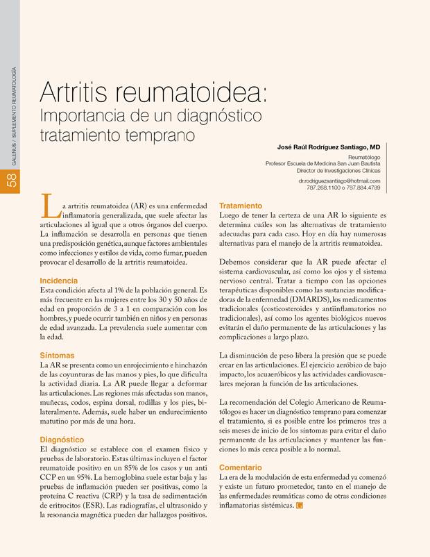 Artritis reumatoidea: Importancia de un diagnóstico tratamiento temprano