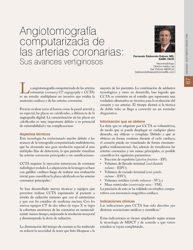 Angiotomografía computarizada de las arterias coronarias: Sus avances vertiginosos