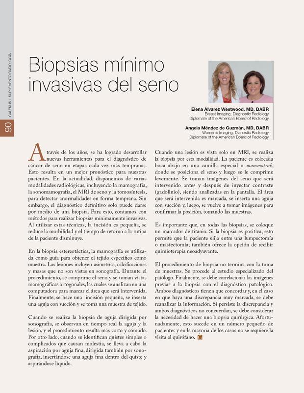 Biopsias mínimo invasivas del seno