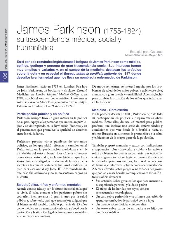 James Parkinson (1755-1824), su trascendencia médica, social y humanística