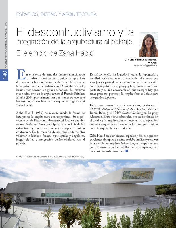 El descontructivismo y la integración de la arquitectura al paisaje: El ejemplo de Zaha Hadid