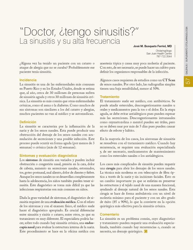 Doctor, ¿tengo sinusitis?