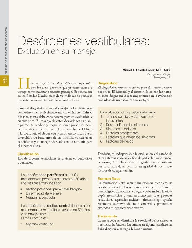 Desórdenes vestibulares