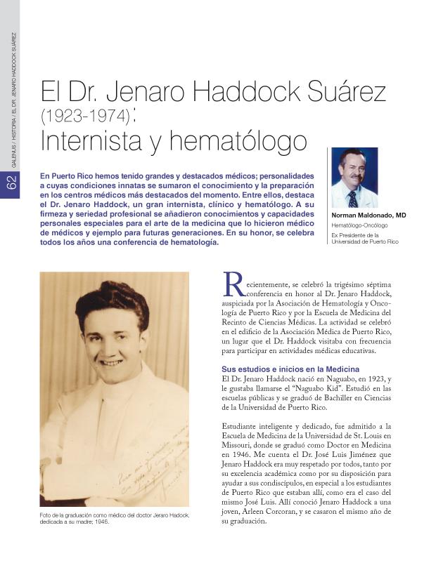 El Dr. Jenaro Haddock Suárez (1923-1974): Internista y hematólogo