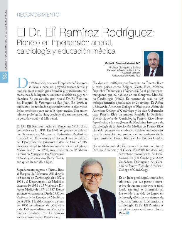 El Dr. Elí Ramírez Rodríguez