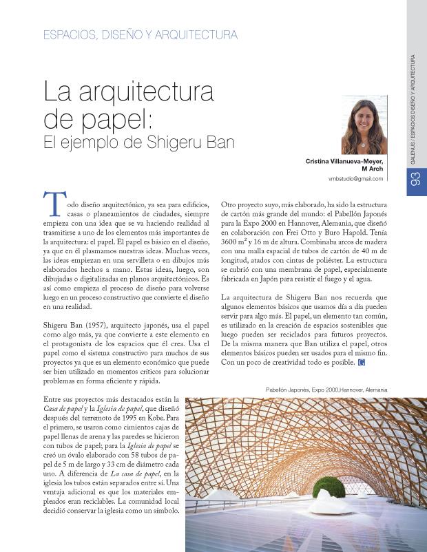 La arquitectura de papel