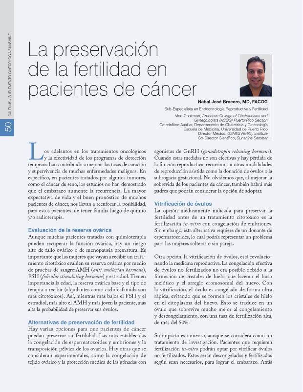 La preservación de la fertilidad en pacientes de cáncer