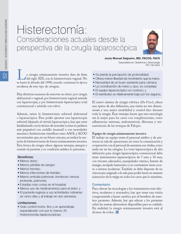 Histerectomía:
