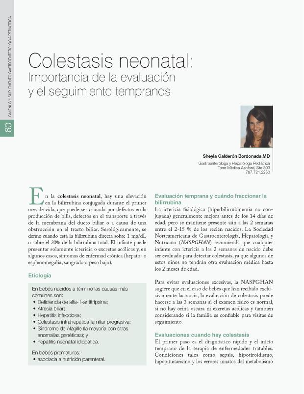 Colestasis neonatal: