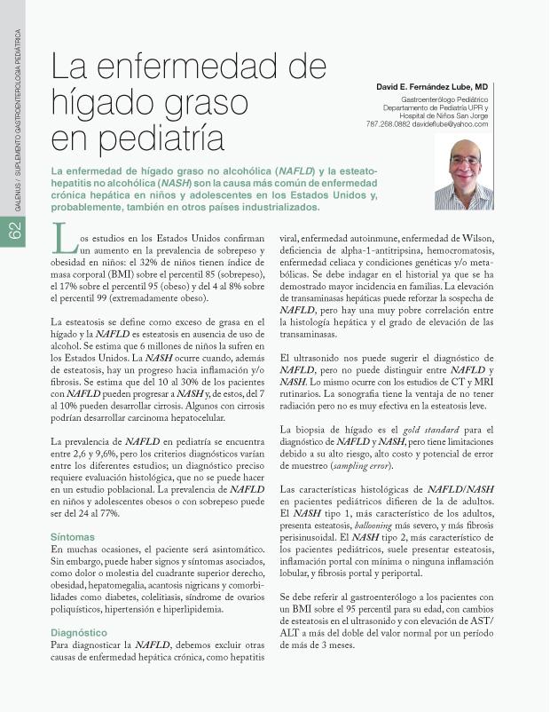 La enfermedad de hígado graso en pediatría