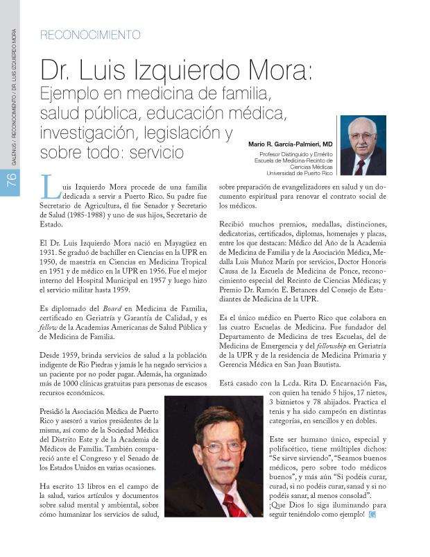 Dr. Luis Izquierdo Mora: