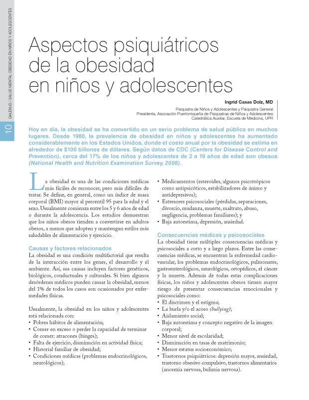 Aspectos psiquiátricos de la obesidad en niños y adolescentes