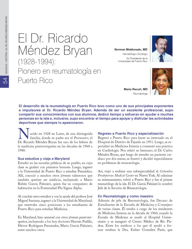 El Dr. Ricardo Méndez Bryan (1928-1994)