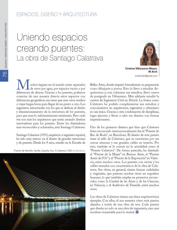 Uniendo espacios creando puentes: