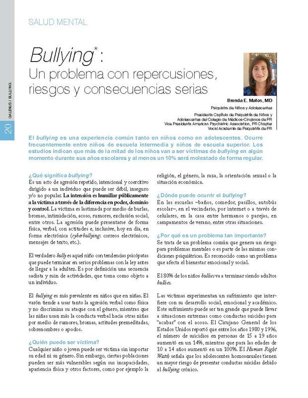 Bullying: Un problema con repercusiones, riesgos y consecuencias serias