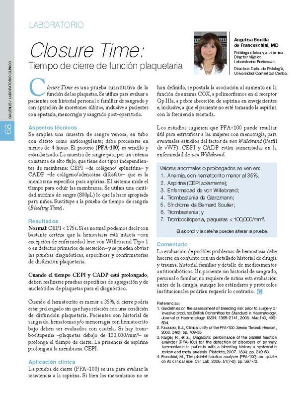 Closure Time: Tiempo de cierre de función plaquetaria