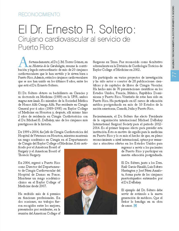 El Dr. Ernesto R. Soltero: Cirujano cardiovascular al servicio de Puerto Rico