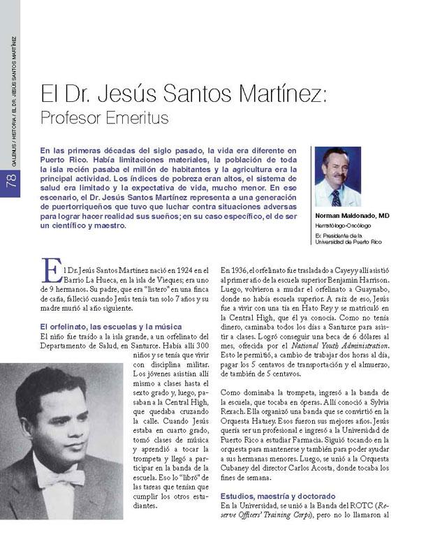 El Dr. Jesús Santos Martínez: Profesor Emeritus