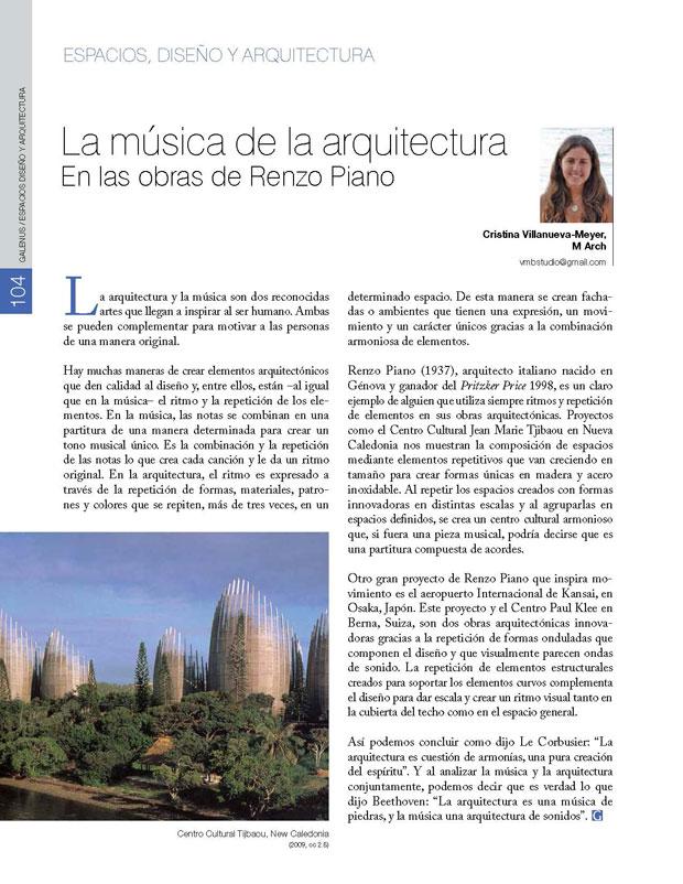 La música de la arquitectura En las obras de Renzo Piano