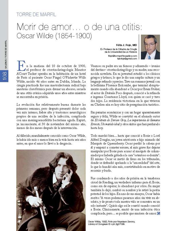 Morir de amor… o de una otitis: Oscar Wilde (1854-1900)