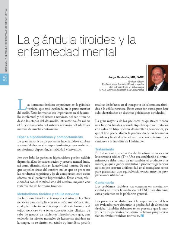 La glándula tiroides y la  enfermedad mental