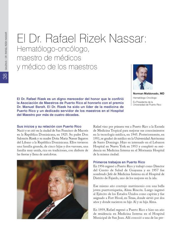 El Dr. Rafael Rizek Nassar