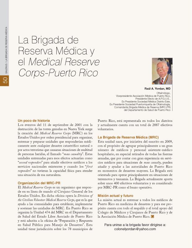 LA BRIGADA DE RESERVA MEDICA