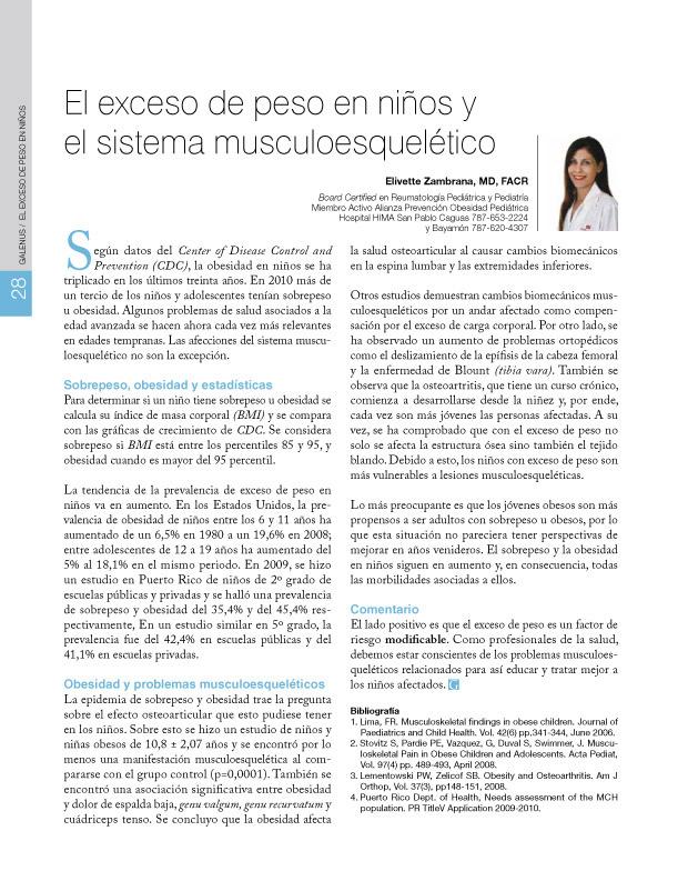 El exceso de peso en niños y el sistema musculoesquelético