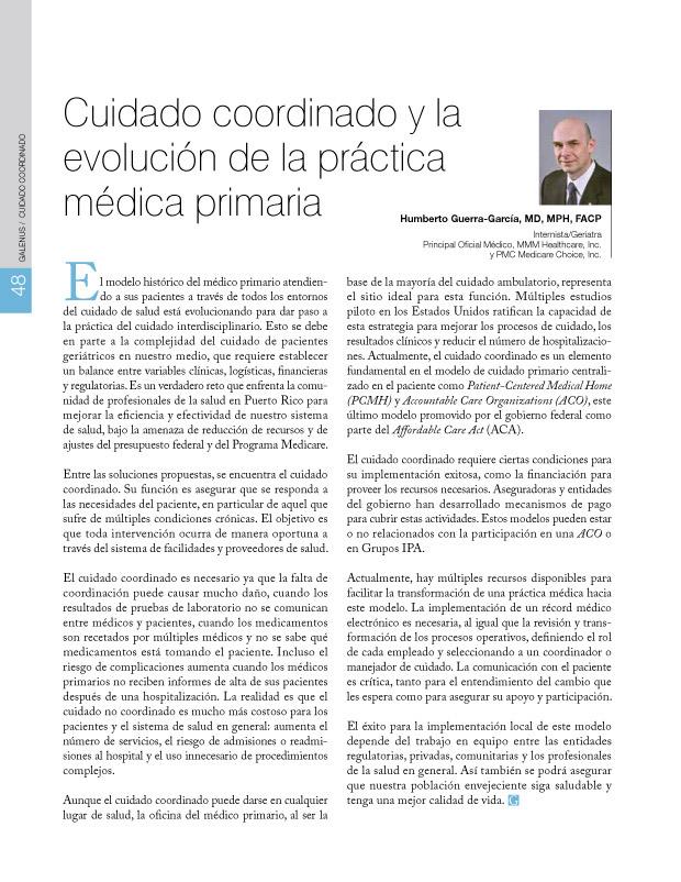 Cuidado coordinado y la evolución de la práctica médica primaria